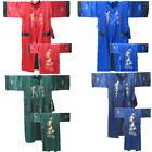 Hot Sale Reversal Double-Sides Men's Robe Gown Embroidery Dragon Sleepwear Bathr