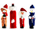 LUXURY FUN CHRISTMAS WINE BOTTLE COVER BAG BEAR SANTA SNOWMAN TABLE DECORATION