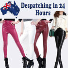 Ladies leather look shiny Legging Footless Womens Fashion Skinny Pant Stretch