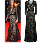 Xmas  Women V Neck Long Lace Dress Party Ball Prom Gown Cocktail Dress Black j