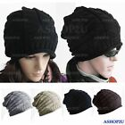 Unisex Women Ladies Thick Warm Retro Cable Knitted Baggy Slouch Beanie Hat