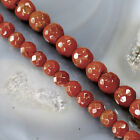 "Natural Red Jasper Faceted Round Beads 15"" , pick your size"