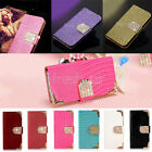 """iPhone 6 4.7"""" 5.5"""" Luxury Leather Magnetic Glitter Flip Bling Wallet Cover Case"""