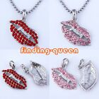 1x Crystal Rhinestone Sexy Lip Vampire Teeth Pendant Charms For Necklace Chain