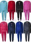 Childrens Velour Tracksuits Cuff Joggers Girls Hoodys Tops Zip Jackets Full Set