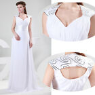 New Formal Long Evening Dresses Ball Gown Prom Dress White US Sz 2 8 10 12 14 16