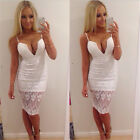 Sexy Woman Deep V Waist Lace Bandage Bodycon Low Cut Dress Party Cocktail Solid