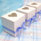 50/100 White Favor Box Love Heart Window 3x3x3 inch Wedding Party Candy Gift Box