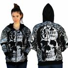 Club Chaos Large Skull Zippered Hoodie Embroidery On Sleeves Spiritual Knowledge