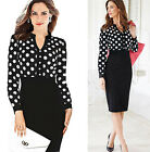 2015 Vintage Rockabilly 50s 60s Lady Polka Dot Cocktail Prom Pencil Formal Dress