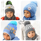 NEW Cute Kids Baby Boys Hat Knitted Winter Hooded Cap with Scarf Tie up Warmer