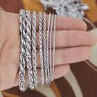 925 Sterling Silver Plated Rope Twisted Chain Necklace Bracelet 234mm