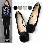 AnnaKastle Womens Fluffy Fur Pom Pom Faux-Suede Ballet Flat Shoes Black US 7
