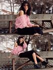 Romantic Women Lace Rose Floral 3D Mesh Pullover Jumper Top Sweaters Blouse Pink