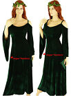 Medieval Maid Marian Green Velvet Gown Fancy Dress Costume - 8 10 12 14 16 18 20
