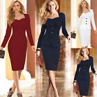 Celebrity Women Long Sleeve Bodycon Plus Size Cocktail Evening Work Pencil Dress