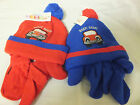 BEEP BEEP  acrylic hat and mittens set by PESCI KIDS blue& red 6/12  12/18mth