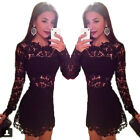 Women's Sexy Hollow Lace Long Sleeve Crew Neck Floral Print Cocktail Mini Dress