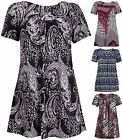 Womens Printed Ladies Stretch Short Sleeve Swing Mini Dress Smock Top Plus Size