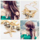 Fashion Star fish Pearl Chain Shell Choker Chunky Bib Necklace Collar Party Hot