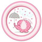 Baby Shower round edible cake topper pink blue boy girl elephant new baby