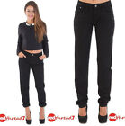 Womens New Boyfriend Denim Slouch Fit Jean Ladies Relax Fitted Jeans Pants Black