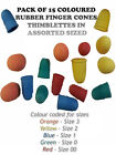 Rubber Finger Cones Thimblettes Pack Of 15 Coloured  In Assorted Sized