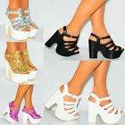 LADIES STRAPPY HOLOGRAM PEEP TOE CHUNKY WEDGES PLATFORM HIGH HEEL SHOES SIZE 3-8