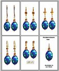 Multicolor Blue Oval Turkey Turquoise, Gold Plated Lever or F.H Earrings-Choose