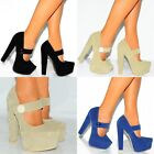 BLUE BEIGE BLUE CONCEALED PLATFORMS MARY JANES BUTTON HIGH HEELS COURT SHOES