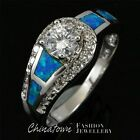 5mm Round Cut Moissanite Blue Fire Opal Silver Jewelry Ring Size 6 7 8 9 10