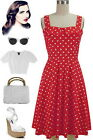 50s Style True RED with White POLKA DOT Fold Over Bust PEGGY SUE Sun Dress