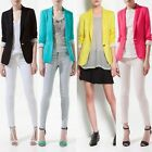 New Women Candy Color Slim Basic Casual Foldable Suit Blazer Jacket One button
