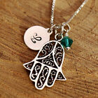 Sterling Silver Personalised Hamsa Pendant Hand of Fatima Necklace w Birthstone