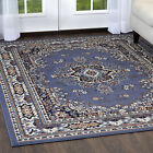 ORIENTAL BORDER SCROLL FLORAL BLUE AREA RUG PERSIAN MULTI-COLOR CARPET