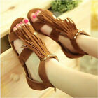 Women's Tassels Open Toe Scandals Ankle Strap Sandals Gladiator Flat Heel Shoes