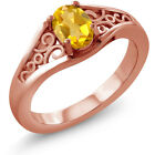 0.60 Ct Oval Yellow Citrine 925 Rose Gold Plated Silver Ring