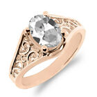 0.70 Ct Oval White Mystic Quartz 925 Rose Gold Plated Silver Ring