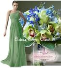 BNWT PAIGE Sage Green One Shoulder Chiffon Long Maxi Bridesmaid Dress UK 6 -16