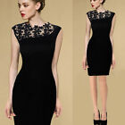 Fashion Women Sexy Lace Sleeveless Bodycon Cocktail Evening Party Pencil Dress