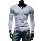 Fashion  Mens Slim Fit V-Neck T-shirt Long Sleeve Muscle Tee Tops Size XS S M L