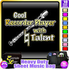 Recorder Cool Player With Natural Talent - Sheet Music Custom Bag by MusicaliTee