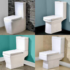 CERAMIC WHITE CLOSE COUPLED BATHROOM TOILET CISTERN PAN & SOFT CLOSE SEAT