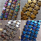 Hot 4-10mm Rainbow Gold Black Silver Blue Hematite Star Pentacle Loose Beads