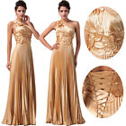 Gold Satin Long Masquerade Ball Gown Bridesmaids Prom Party Formal Evening Dress