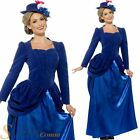 Ladies Deluxe Blue Victorian Vixen Edwardian Nanny Fancy Dress Costume Outfit