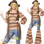 Ladies Harmony Hippie 60s 70s Hippy Fancy Dress Costume Flares Adult Outfit