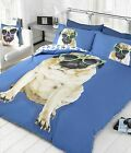 LUXURY CUTE PUG DOG PUPPY DUVET QUILT COVER BED BEDDING SET + PILLOW CASES BLUE
