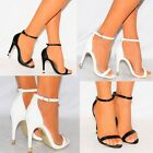 LADIES BLACK WHITE STRAPPY OPEN TOE ANKLE STRAP STILETTO HIGH HEEL PARTY SHOES