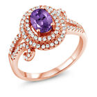2.00 Ct Oval Natural Purple Amethyst 925 Rose Gold Plated Silver Ring